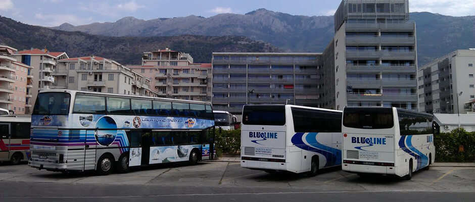 Commercial bus from Tivat Airport to Budva